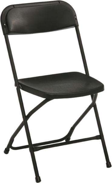 Svart fällbar stol. Vikt 3,5 kg, Höjd 80 cm, Bredd 43 cm, Längd 43 cm, Sitthöjd 45 cm. Max vikt: 200 kg. Färg svart.