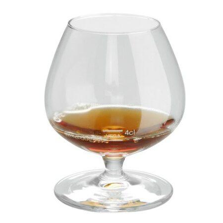 Konjakskupa Claret 25 cl. Höjd 10 cm. I glaset på bilden finns 4 cl konjak.