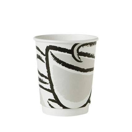 Designad mugg med dubbelvägg varmdryckbägare 23cl. Bägaren håller värmen bra och behaglig att hålla i tack vare en extra vägg som isolerar värmen. Passar perfekt till en normalstor kaffe/the.